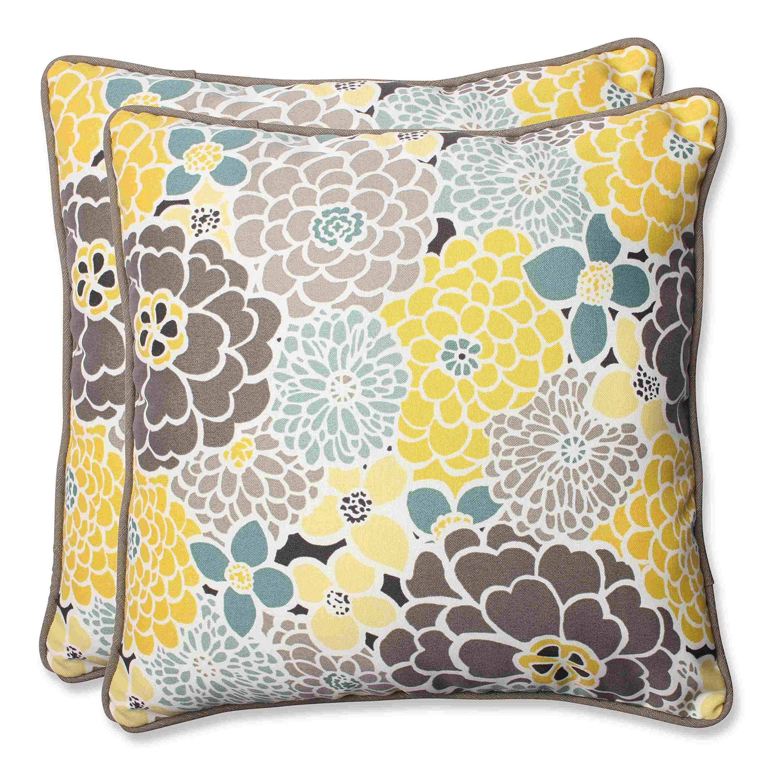 Pillow Perfect Outdoor Full Bloom Throw Pillow, 18.5-Inch, Set of 2