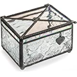 J Devlin Box 408 Stained Glass Vintage Keepsake Jewelry Box with Love Charm Decorative Trinket Box Romantic Gift