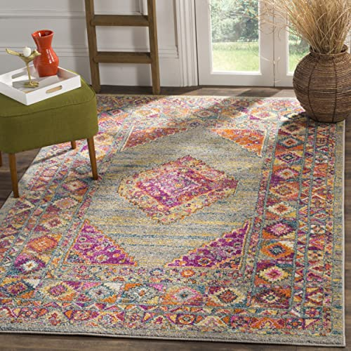 Safavieh Madison Collection MAD133G Light Grey and Fuchsia Bohemian Chic Medallion Area Rug 8 x 10