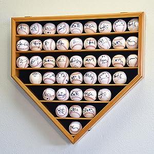 43 Baseball Ball Display Case Cabinet Holder Rack Home Plate Shaped w/98% UV Protection- Lockable –Oak