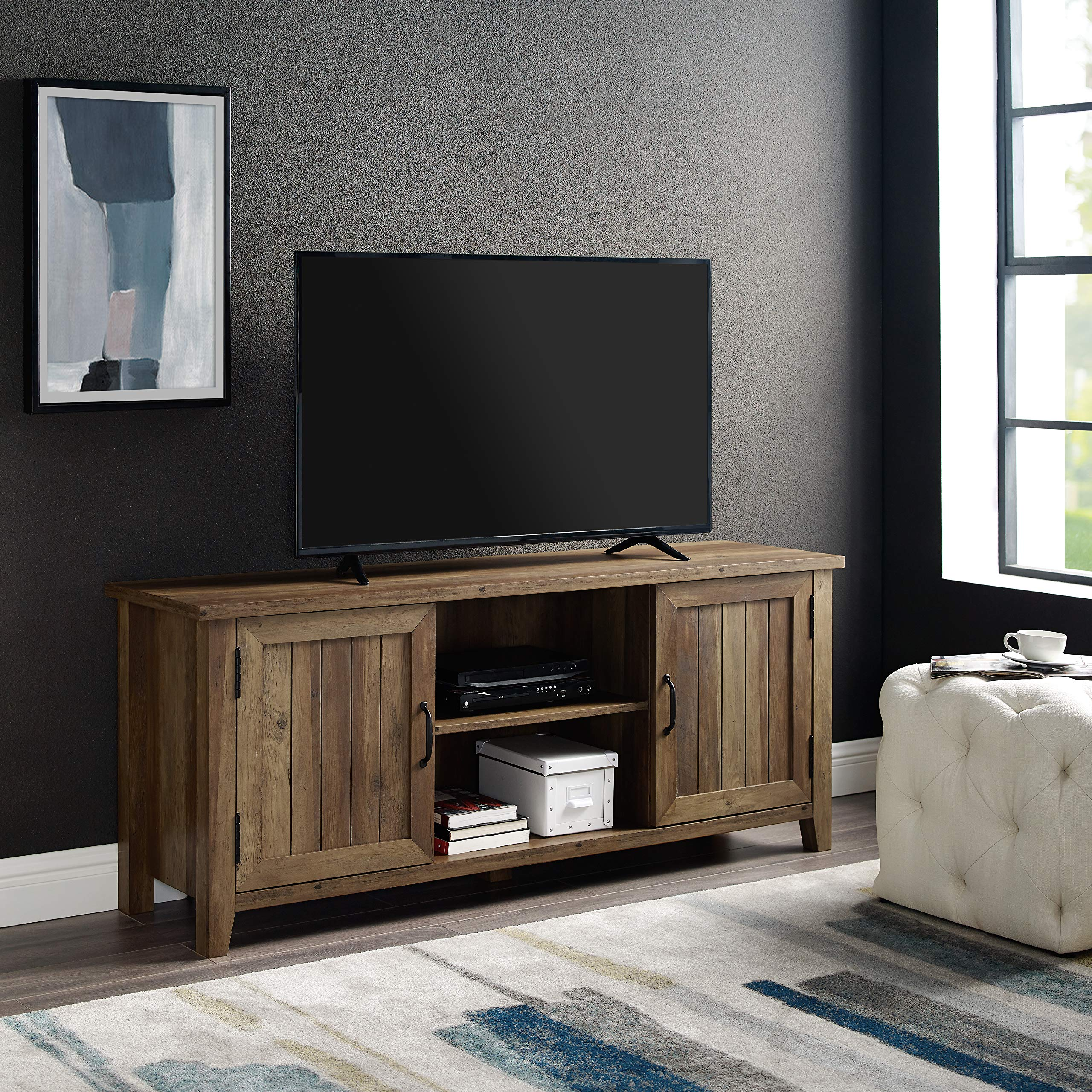 WE Furniture AZ58CS2DRO TV Stand, 58'', Rustic Oak by WE Furniture