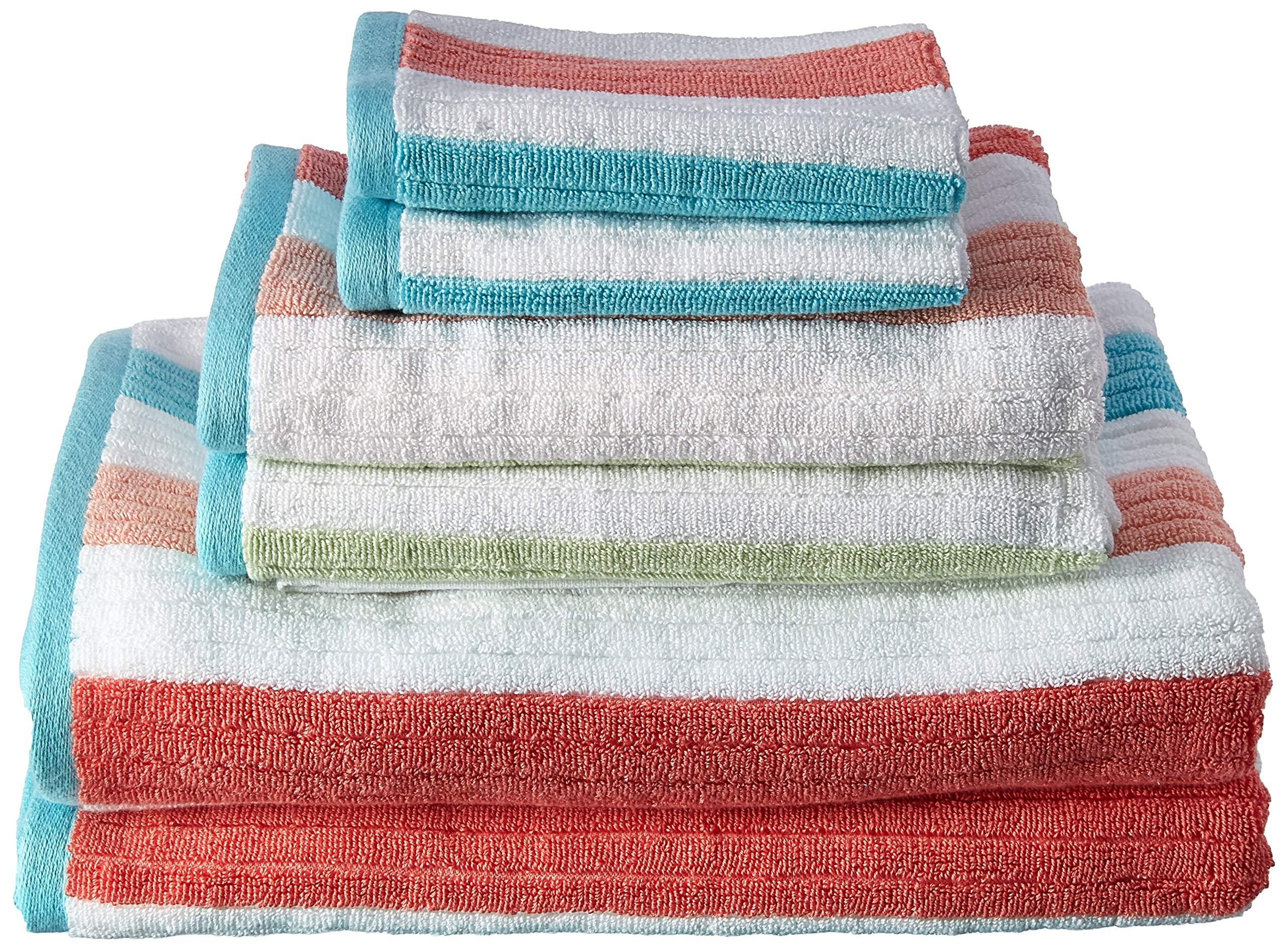 Caro Home 6PC-1128-T1-1007 Stripes Karissa 6-Piece Cotton Bath Towel Set
