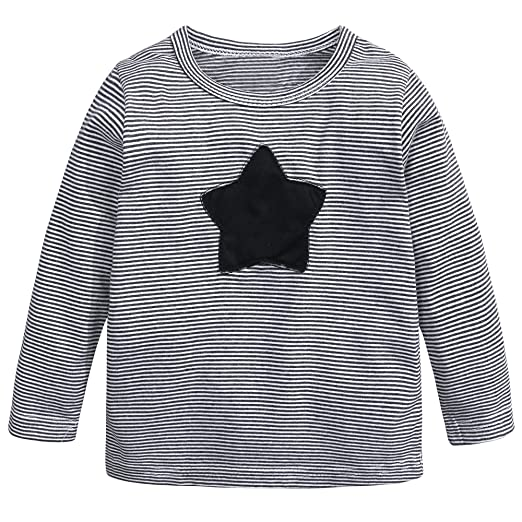 80a5b233b8e Image Unavailable. Image not available for. Color  Baby Kids Boys Girls  Star Striped Long Sleeve O Rong BFF ...