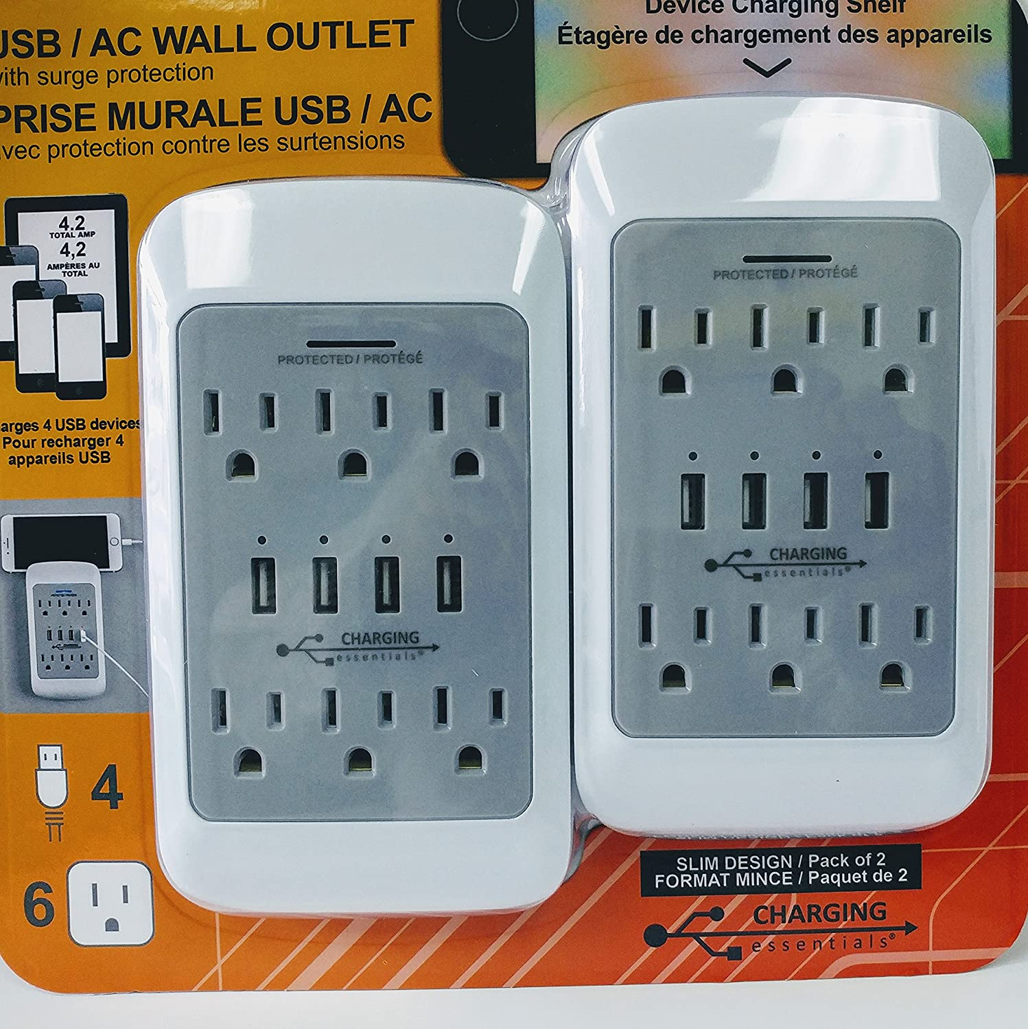 2 Pack USB/AC Charging Outlet with Surge Protection, 4 USB Ports, 6 AC Outlet W/ LED Charging Indicator Light BDC