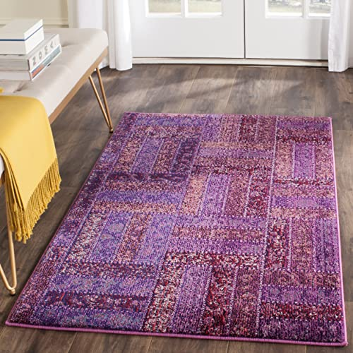 Safavieh Monaco Collection MNC214L Modern Geometric Patchwork Purple and Multi Distressed Area Rug 3 x 5