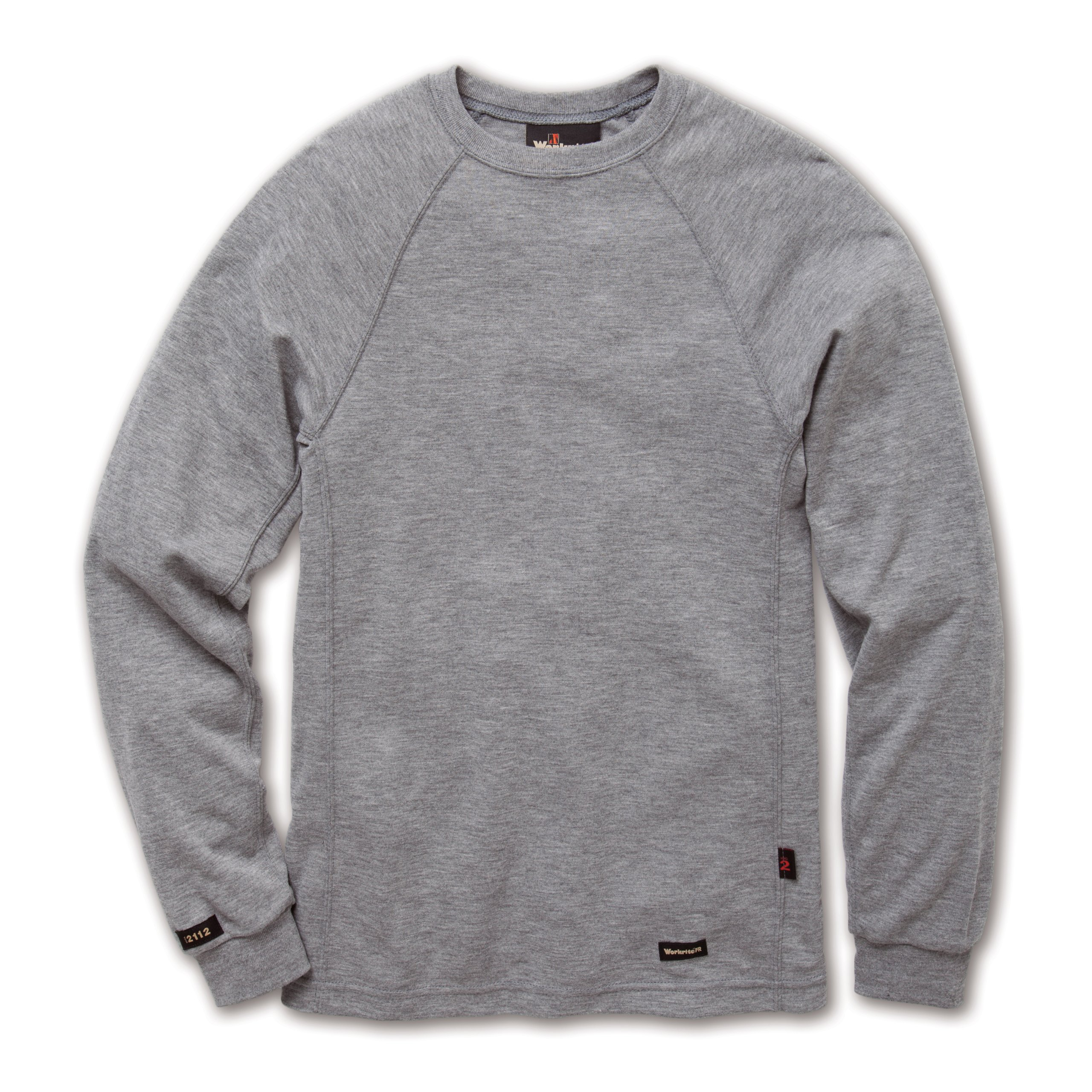 Workrite 277TK67HGMD-00 Flame Resistant 6.7 oz Tecasafe Plus Knit Long Sleeve T-Shirt, Ribbed Cuff, Medium, Heather Gray
