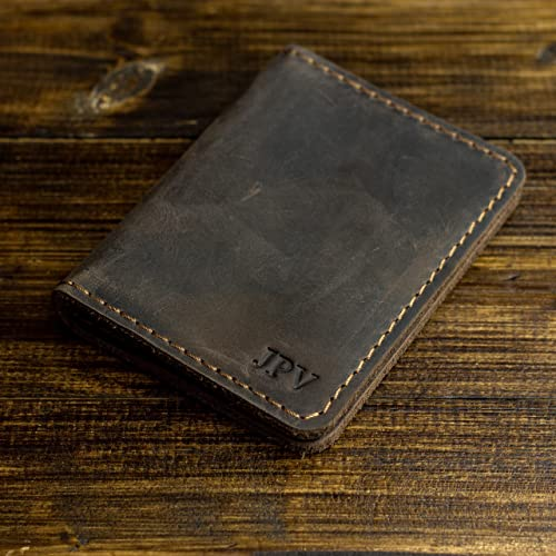 935bbb2aa6fef Pegai Personalized Rustic Leather Wallet - Unique Personalized Gift for Him  - Handcrafted Rustic Minimalist Top