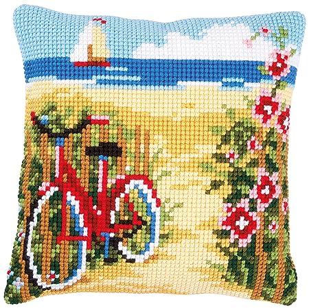 Vervaco - Cojín de Punto de Cruz Bicicleta en la Playa ...