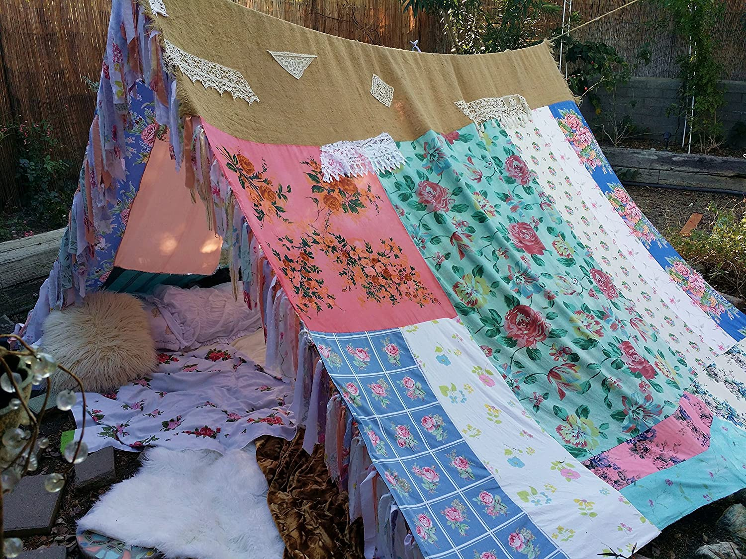 Amazon.com Boho Gypsy tent shabby chic gl&ing teepee hippiewild vtg scarves Gypsy hippie patchwork bed canopy Wedding photo prop Bohemian hippy Handmade & Amazon.com: Boho Gypsy tent shabby chic glamping teepee hippiewild ...