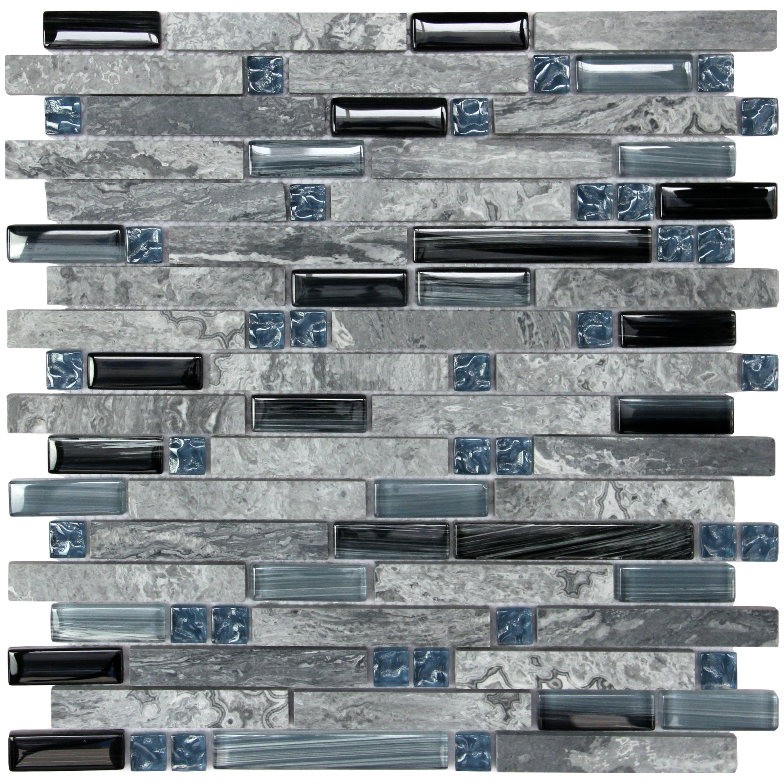 Soapstone Blues (GD09) Gray Marble Stone Blue Black Glass Blend Backsplash Tiles for Kitchen Bathroom Mosaic Wall (1 Box / 11 Sheets) by LADA Mosaic Tiles