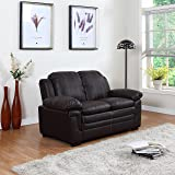 Divano Roma Classic Bonded Leather Sofa and Loveseat Living Room Furniture, Color Black, Brown, and White (Loveseat, Brown)