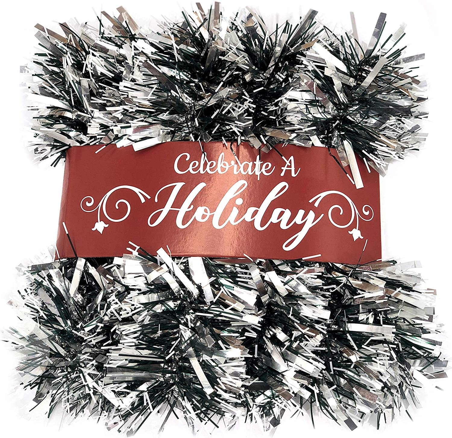 20 Foot Tinsel Garland for Christmas Decorations - Non-Lit Holiday Decor for Outdoor or Indoor Use - Premium Quality Home Garden Artificial Greenery, or Wedding Party Decorations (Silver)