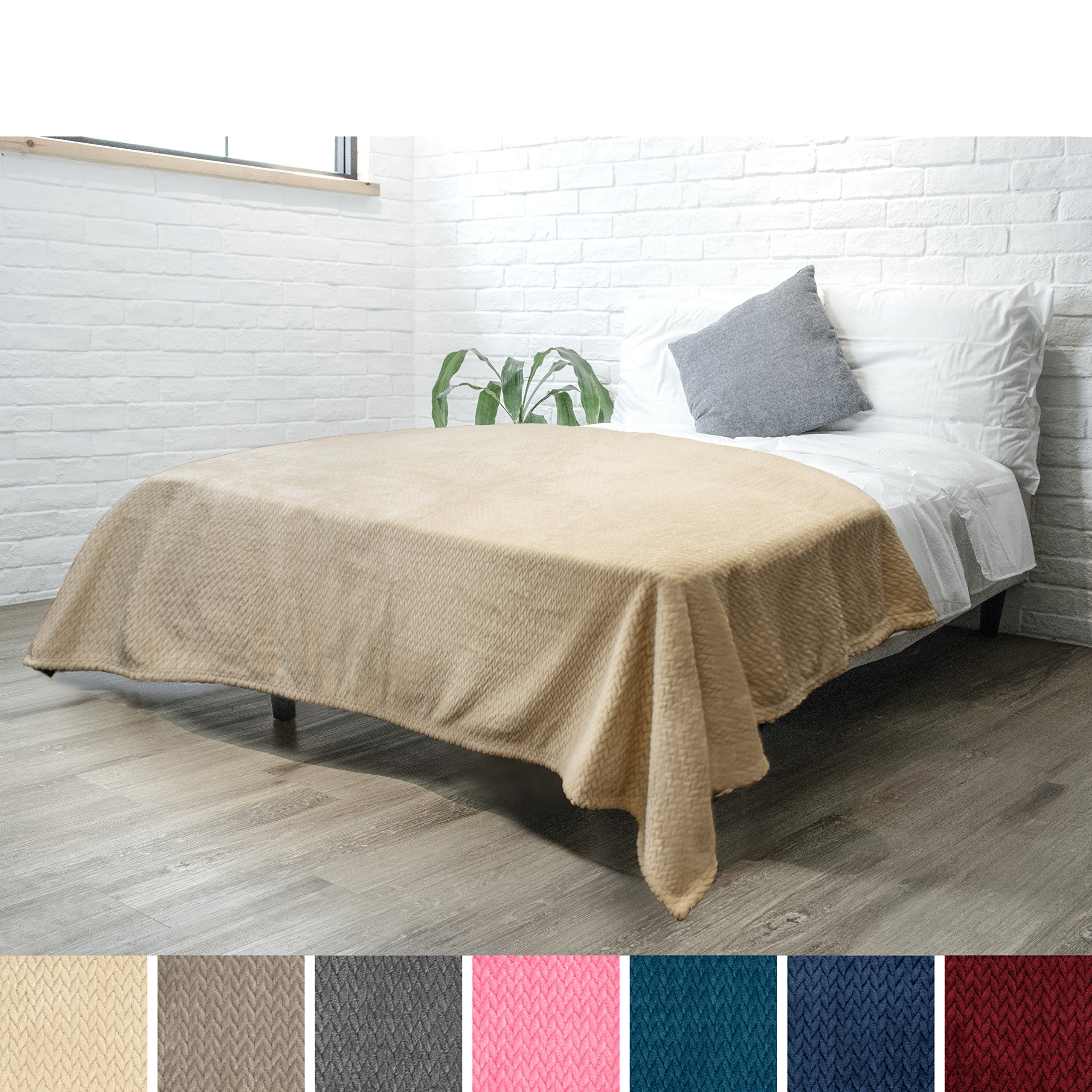 PAVILIA Luxury Soft Plush Latte Beige Blanket for Twin Bed, Sofa, Couch | Silky Velvet Fleece Chevron Pattern | Cozy, Warm, Fuzzy Lightweight Microfiber | All Season Use | 60 x 80 Inches