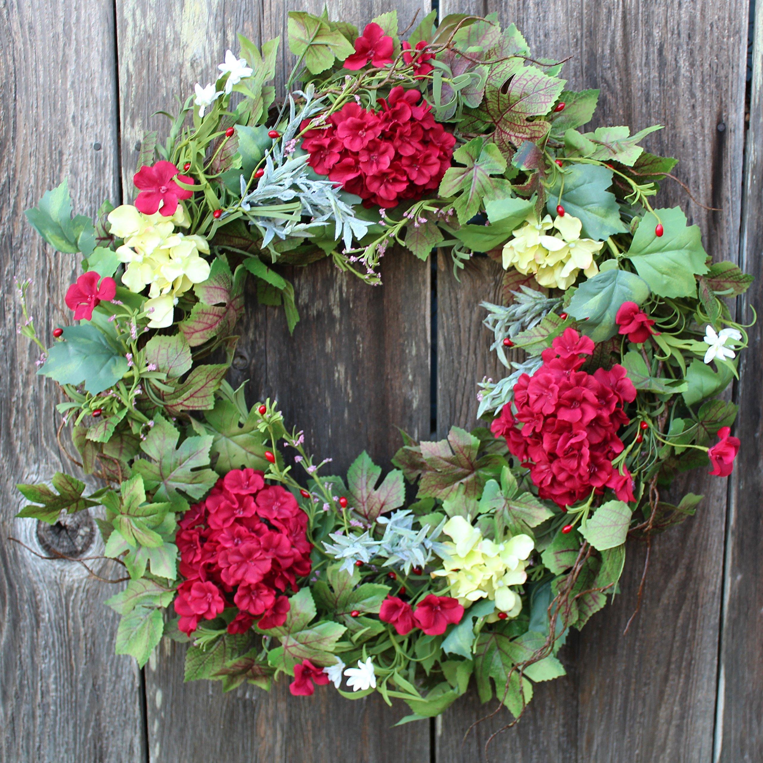 Belmont Silk Decorative Front Door Wreath 24 Inch   Year Round Beautiful Silk  Wreath Transforms Front Door Decor, Handcrafted With Care, White Storage  Gift ...