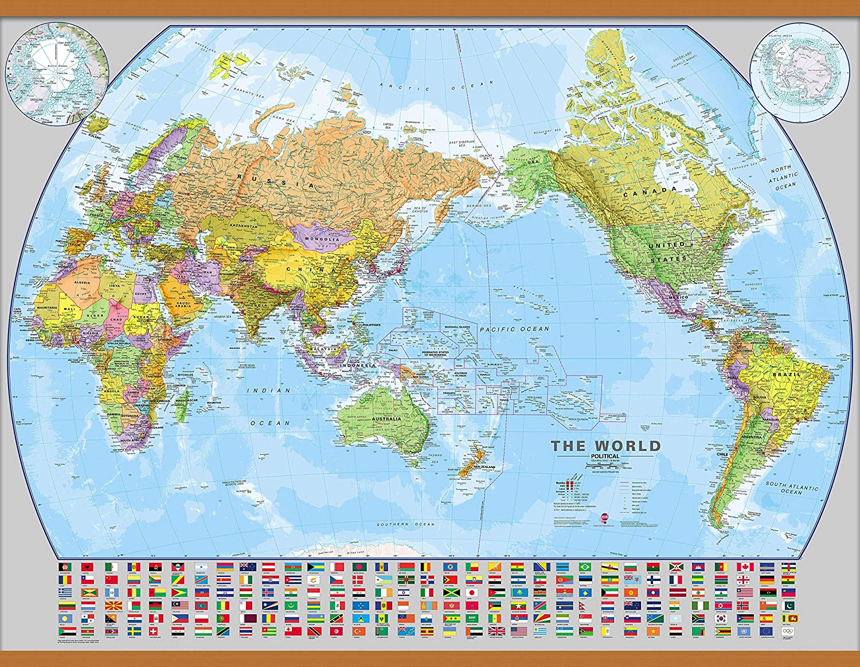 Amazon.com : Maps International Large Pacific-Centered World Wall ...