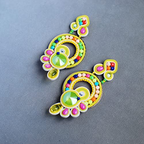 festival jewelry gift for mom colorful jewelry Long turquoise fuchsia earrings soutache earrings colorful dangle earring summer trends