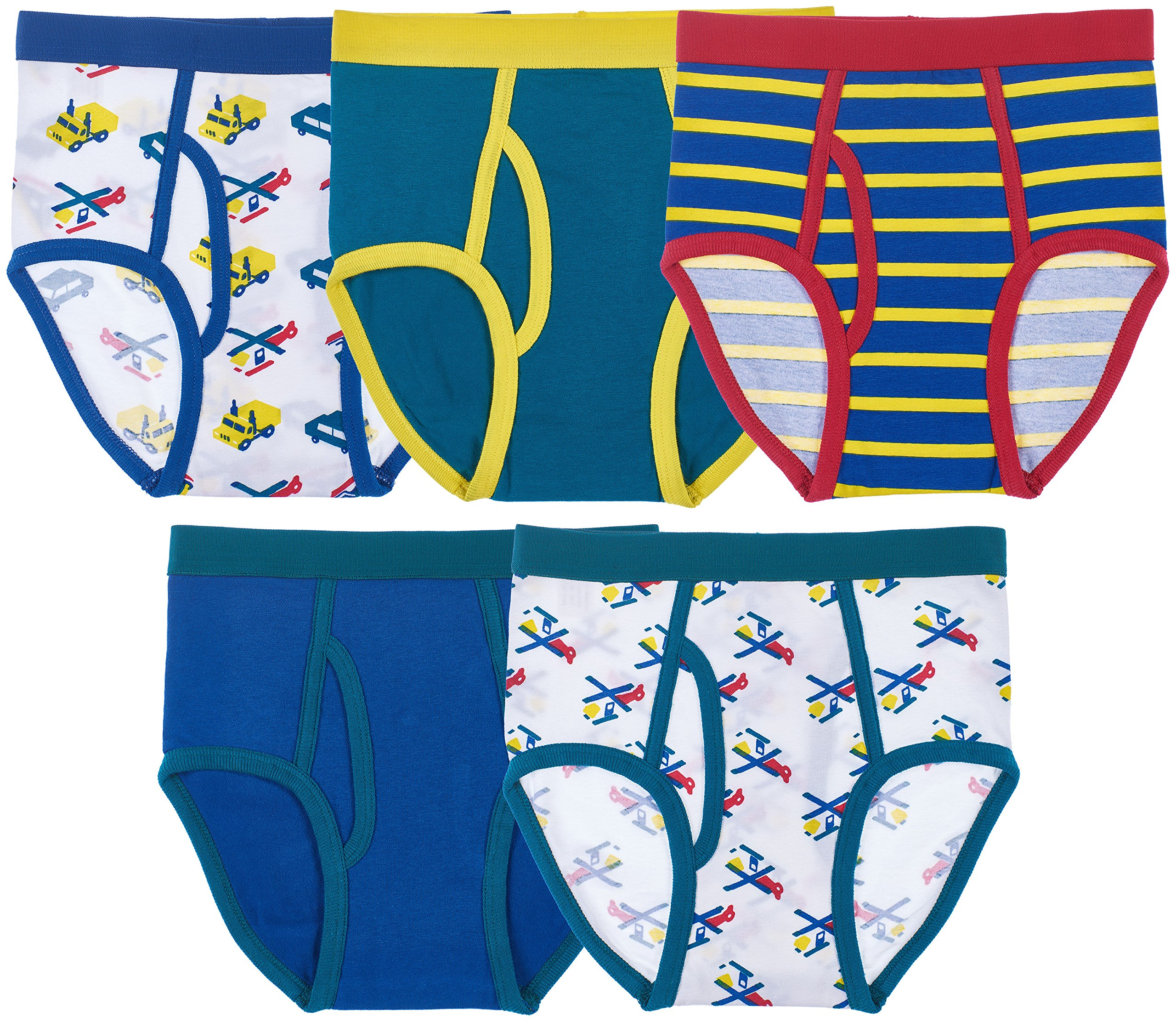 Trimfit Boys Cotton/Spandex Tagless Colorful Briefs 5-Pack, Transportation, M (6-8)