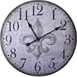 """Lulu Decor, French Country Style Rustic Round Wood Wall Clock 23.50"""" (LH18)"""