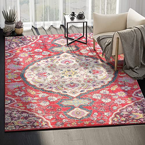 Abani Rugs Large Ivory Fuchsia Red Floral Distressed Vintage Classic Area Rug Modern Style Accent, Eden Collection Turkish Made Superior Comfort Construction Stain Shed Resistant, 8 x 10 Feet