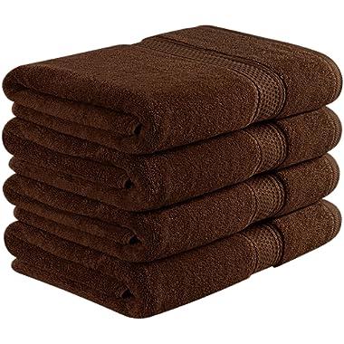 Utopia Towels 700 GSM Premium Bath Towels - 4 Pack Towel Set - (27x54 Bath Towels) - 100% Ring-Spun Cotton Towels for Home, Hotel and Spa (Dark Brown)