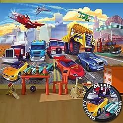 great-art Fototapete für Kinderzimmer Autorennen Wandbild Dekoration Flugzeug Cars Abenteuer Feuerwehr Sportwagen Auto Cabrio Comic   Foto-Tapete Wandtapete Fotoposter Wanddeko by (336 x 238 cm)
