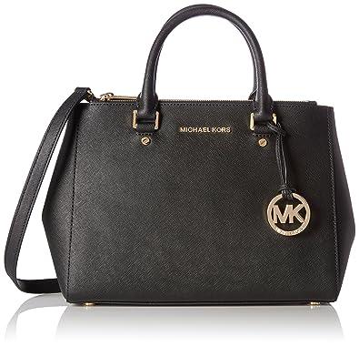 e178ac1706e33 MICHAEL Michael Kors Sutton Medium Saffiano Leather Satchel Black    Handbags  Amazon.com