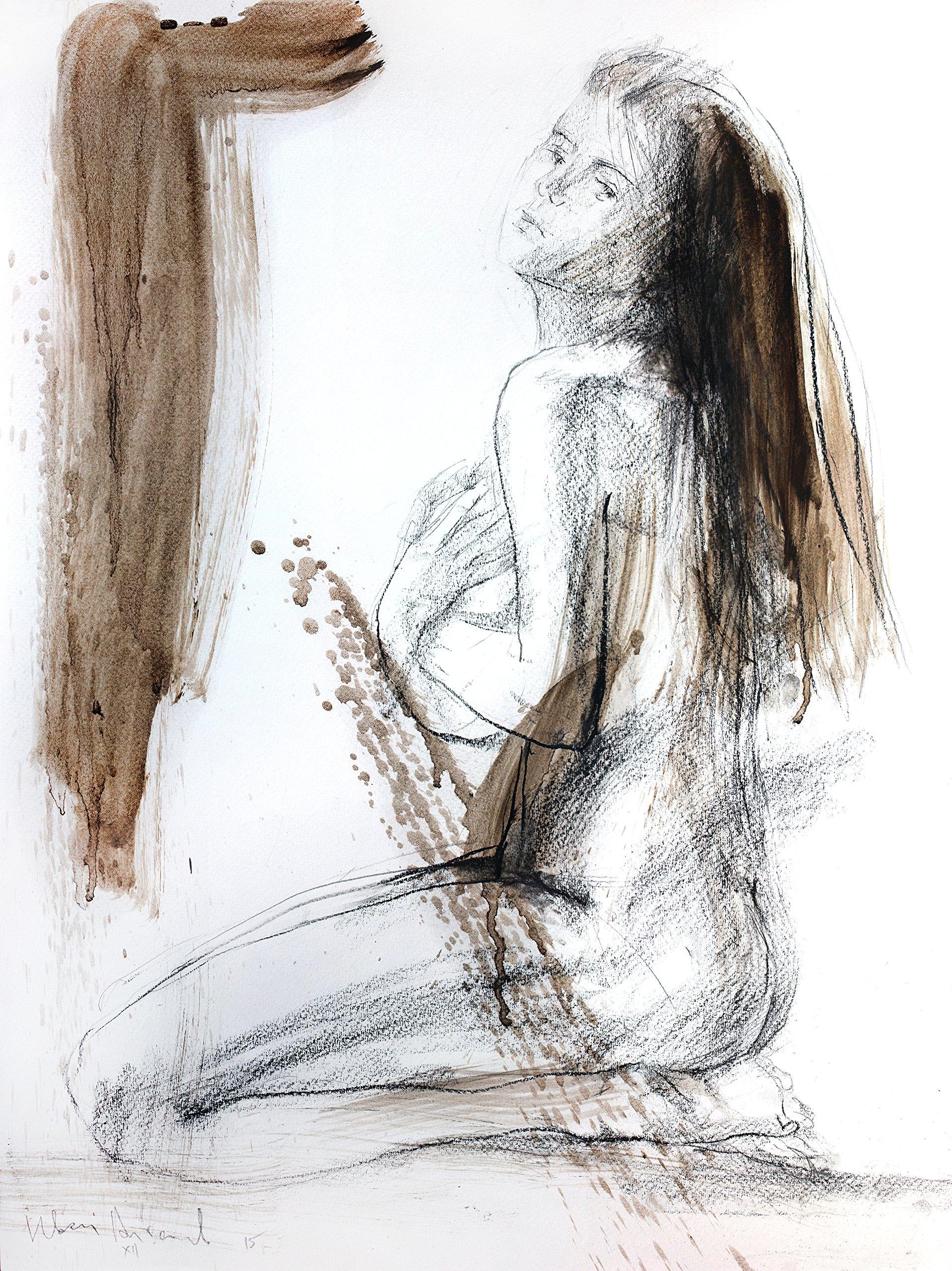 Original Charcoal Nude Sketch Wall decor Artistic drawing Woman Modern Figurative art by IvMarART