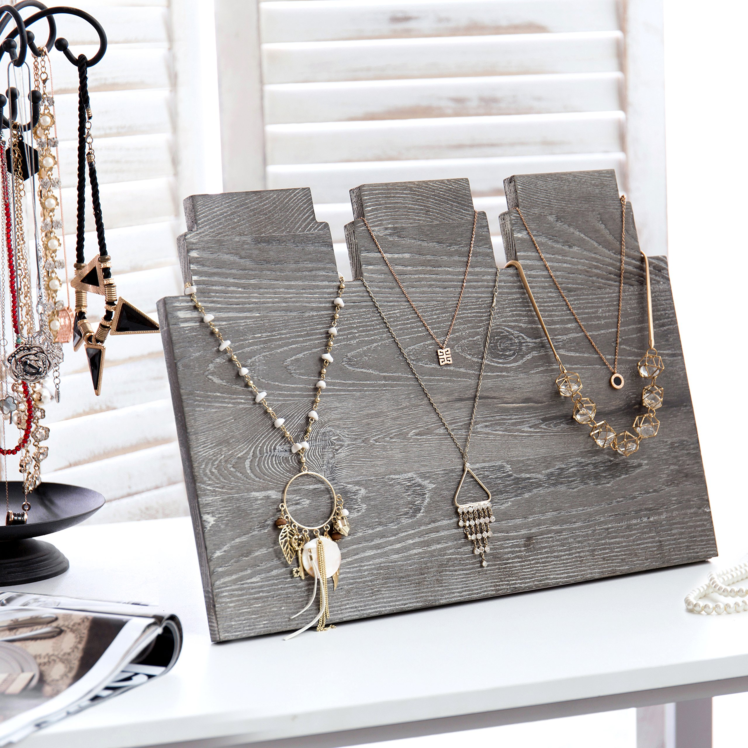 MyGift Distressed Gray Wood Multi-Tiered Necklace Display Stand
