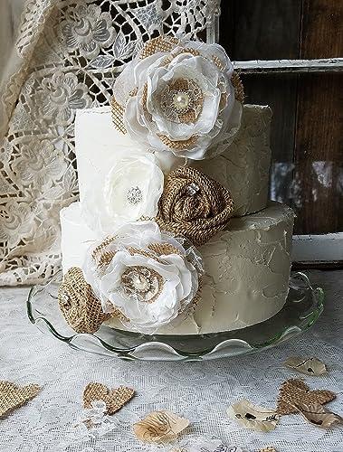 Wedding Cake Flowers.Burlap Cake Flowers Wedding Cake Flowers Burlap Wedding Fabric Cake Flowers Rustic Cake Flowers Cake Topper Burlap Cake Top 5 Flowers