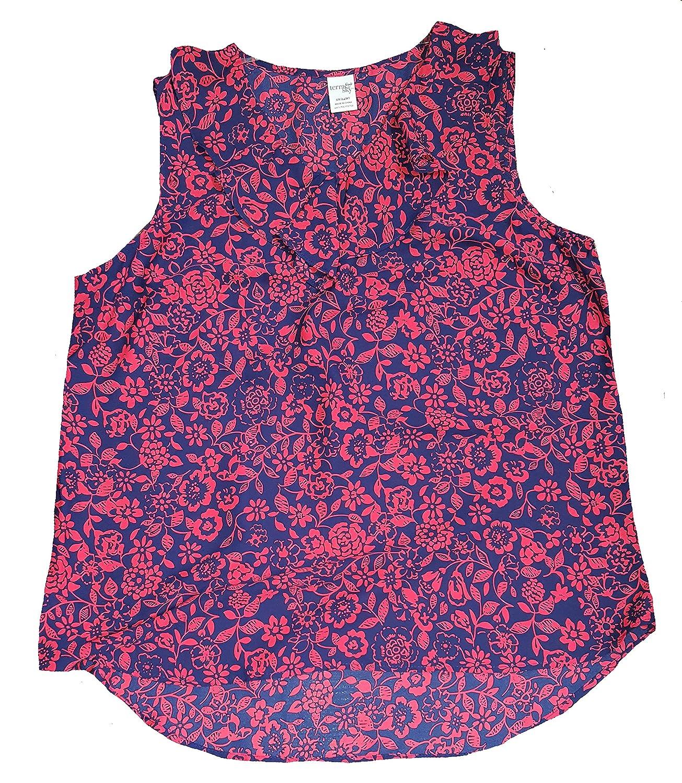 5673d86548e Terra   Sky Women s Plus Size Blue   Red Floral Print Generous Fit Woven  Tank - 3X at Amazon Women s Clothing store