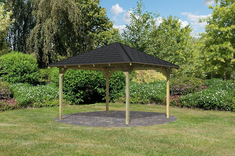Karibu 4-Eck Pavillon Eco Granada Sparset inkl. Schindeln