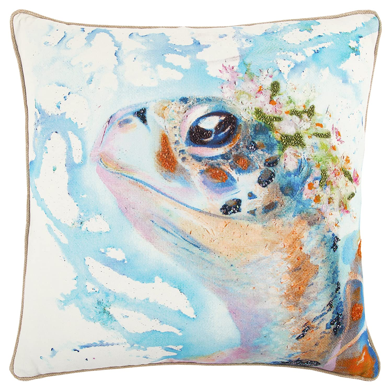 Blue//Red Rizzy Home Decorative Filled Pillow Mariah Parris by Turtle Cotton Decorative Pillow 20 x 20
