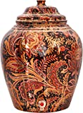 Indian Art Villa Printed Design13 L Copper Water Dispenser Pot Matka (Dark Brown)