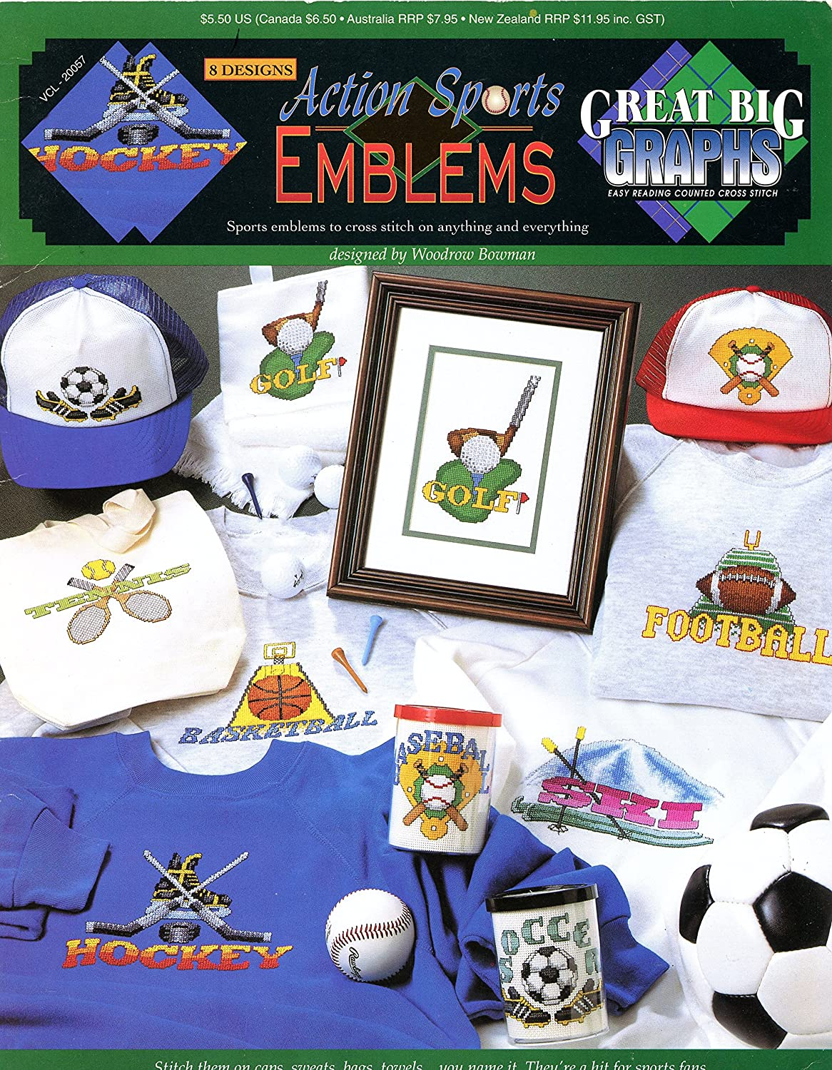 Great Big Graphs Easy Reading Counted Cross Stitch Leaflet VCL-20057 Action Sports Emblems