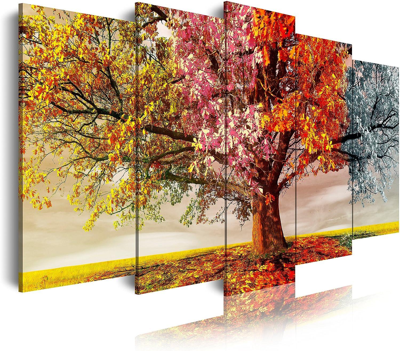 DekoArte - Cuadros Modernos Impresión de Imagen Artística Digitalizada | Lienzo Decorativo Para Tu Salón o Dormitorio | Estilo Paisaje Árboles Cuatro Estaciones Del Año | 5 Piezas 200 x 100 cm XXL