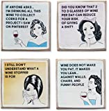 Zumatico 4 Funny Wine Coasters Set & Holder | Rustic Wood with Funny Sayings & Quotes | Great Wine Gift for Women | Housewarming Gift for Wine Lovers