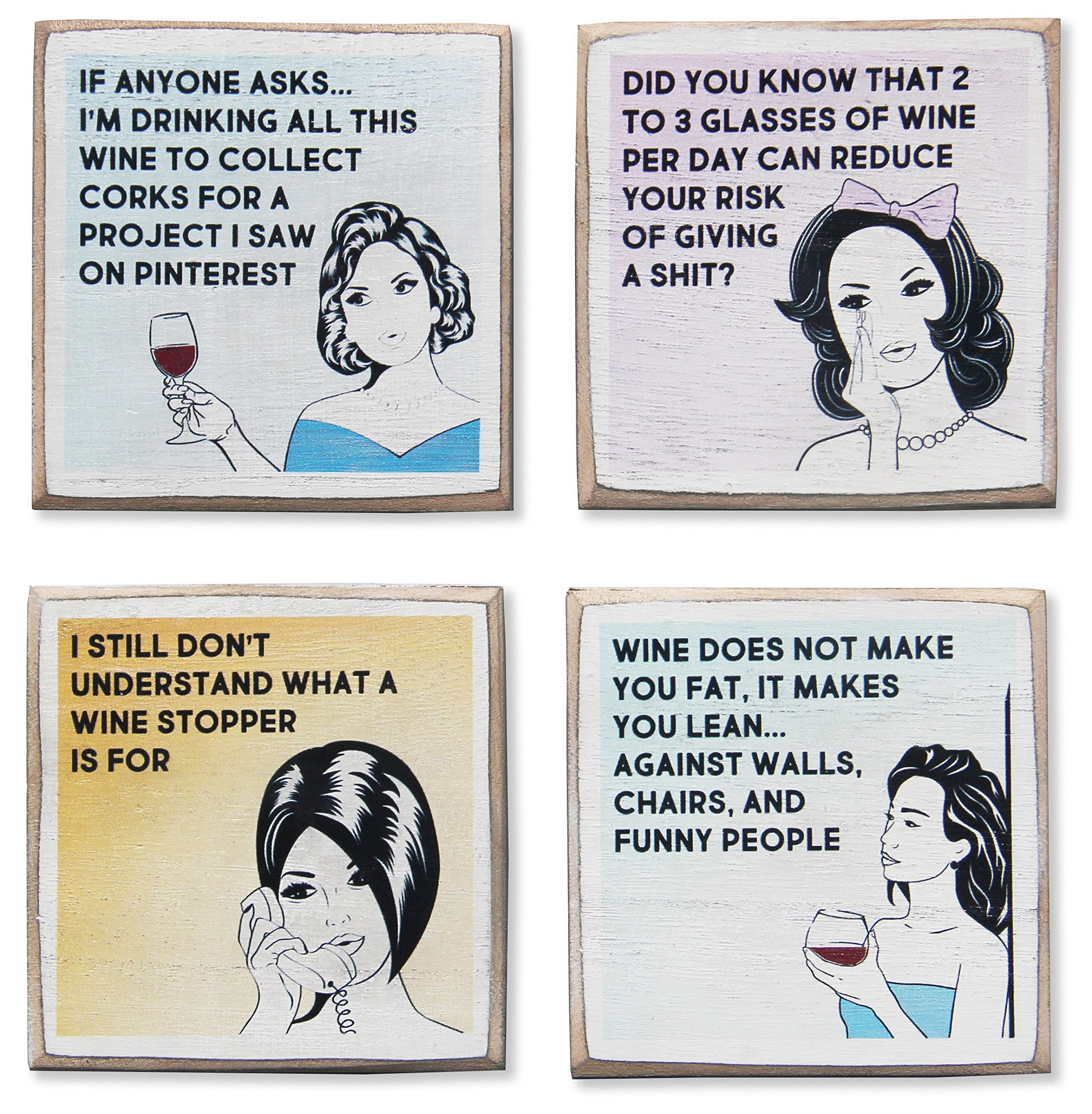 4 Funny Wine Coasters Set & Holder, Rustic Wood with Funny Sayings & Quotes, Great Wine Gift for Women, Accessories to Protect Bar Tables for Wine Lovers by Zumatico