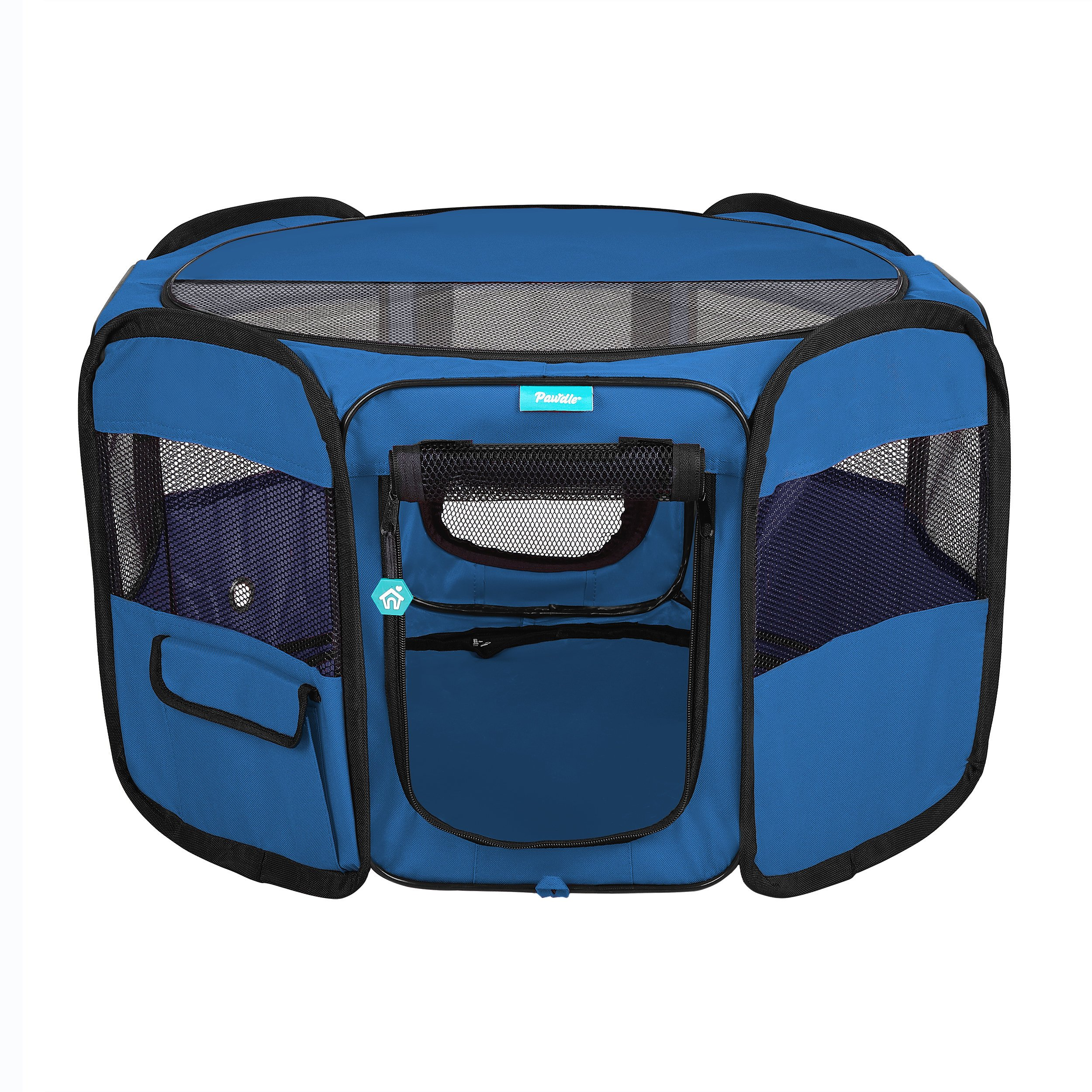 Deluxe Premium Pet Dog Playpen Portable Soft Dog Exercise Pen Kennel with Carry Bag for Dogs, Cats, Kittens, and All Pets (Small, Blue) by Pawdle