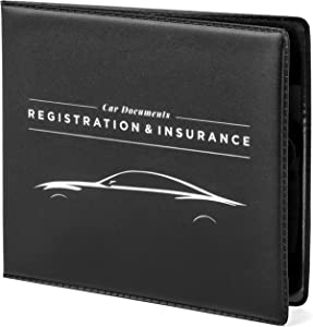 "CAR DOCUMENTS HOLDER CASE 5"" x 4.5"" for Insurance, DMV, Registration, AAA, Auto Club, for Car Truck SUV, Motorcycle, touch fastener closure, safely store documents in glove box or visor flap"