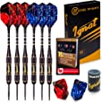 Ignat Games Steel Tip Darts - Professional Darts with Aluminum Shafts and Different Style Flights + Dart Sharpener + Case