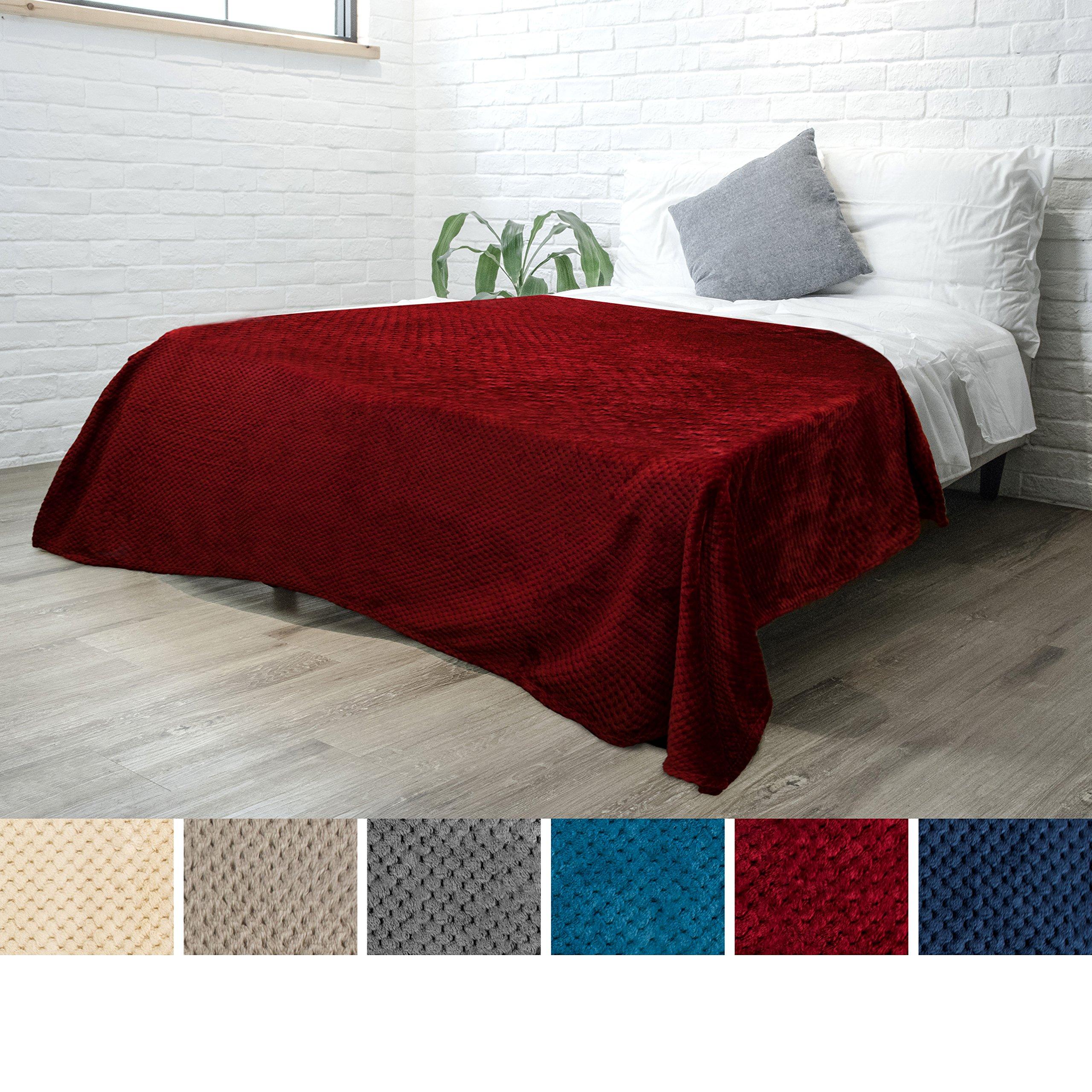 PAVILIA Premium Flannel Fleece Bed Throw Blanket for Sofa Couch | Wine Waffle Textured Soft Fuzzy Blanket | Warm Cozy Microfiber Plush | Twin Size 60 x 80 | Lightweight, All Season