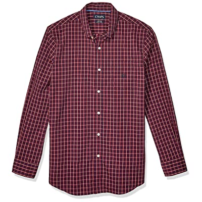 Chaps Men's Classic Fit Long Sleeve Stretch Easy Care Shirt at Men's Clothing store