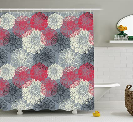 Ambesonne Dahlia Flower Decor Shower Curtain Hand Drawn Repeating Big And Small Flowers Motif With