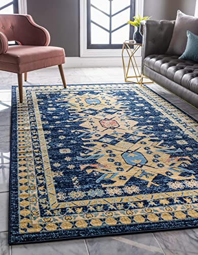 Unique Loom Taftan Collection Geometric Tribal Navy Blue Area Rug 9 0 x 12 0