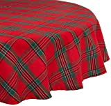 DII Holiday Plaid Round Tablecloth, 100% Cotton