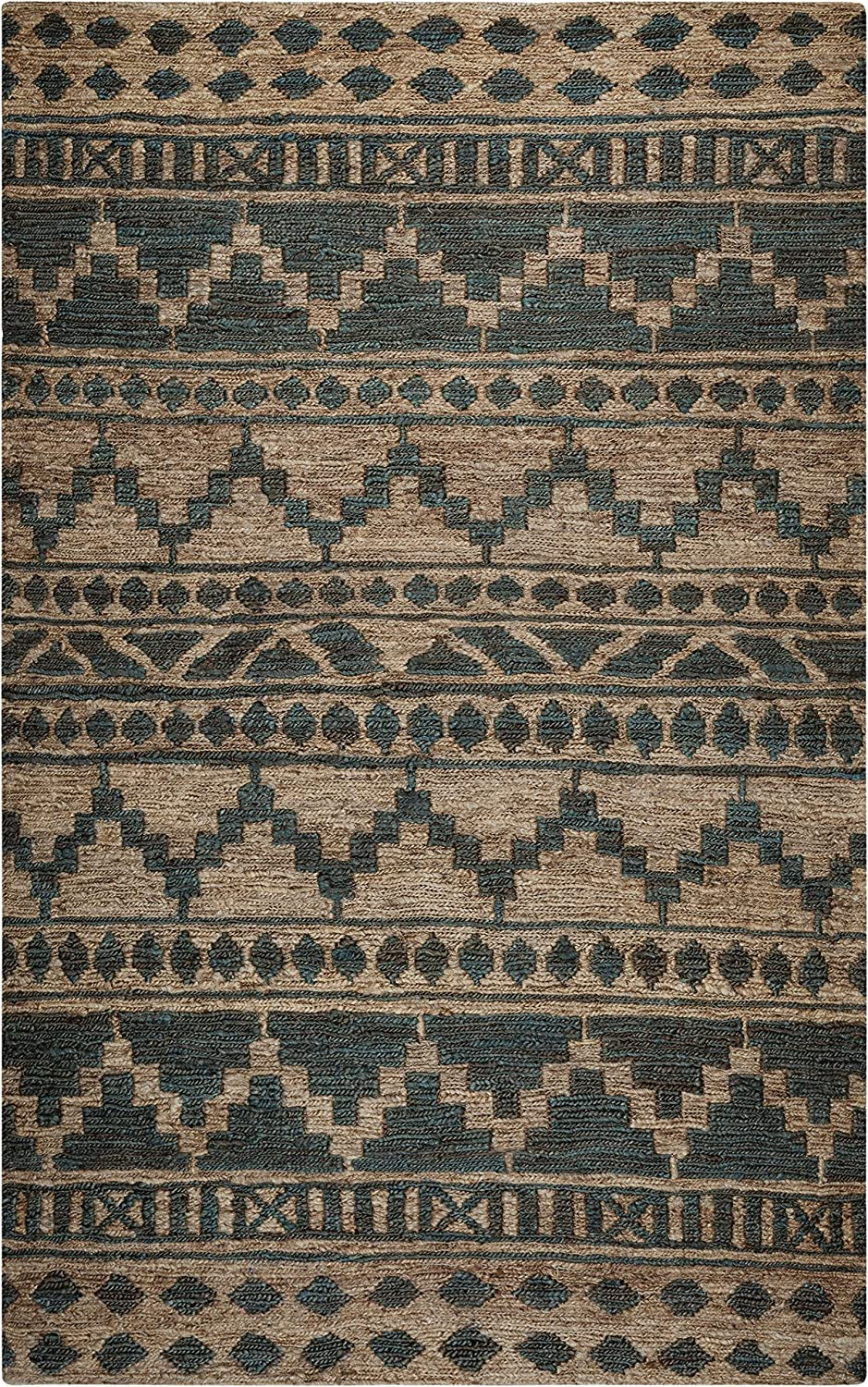 Rizzy Home Whittier Collection Jute Area Rug, 3' x 5', Sage/Natural Southwest/Tribal