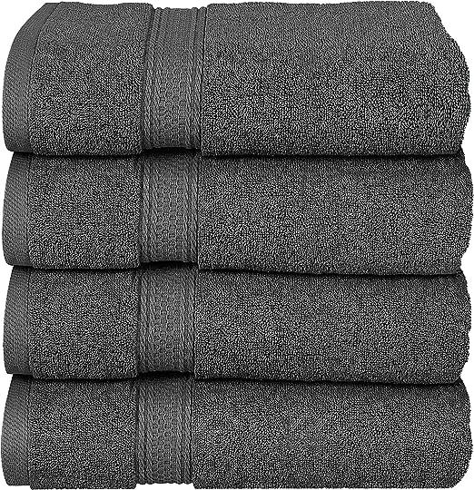 Bath Towels 4 Pack Towel Set 27 x 54 Inches Cotton Soft 600 GSM Utopia Towels