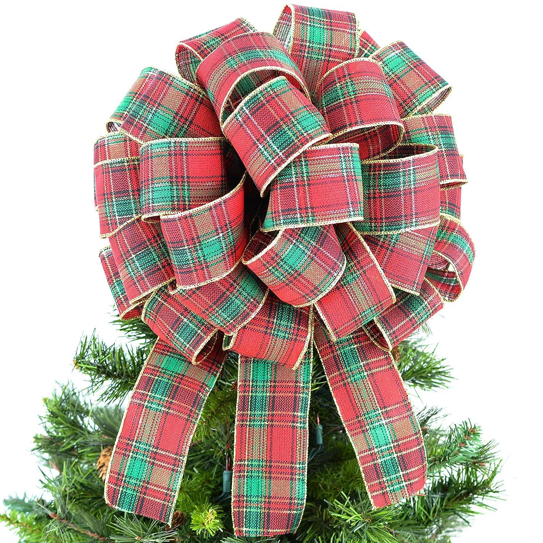 Traditional Tartan Plaid Red Green Gold Bow Tree Topper Christmas Tree Bow TB45 Big Present Gift Box Bow