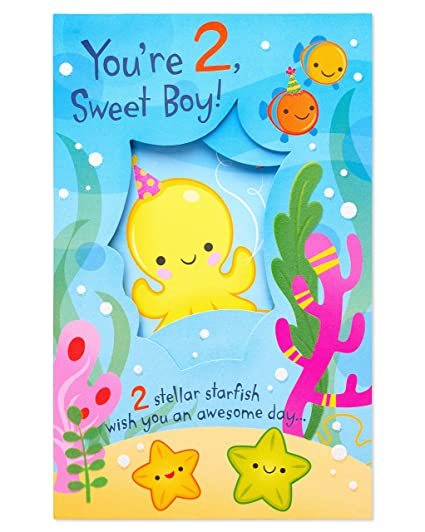 Amazon American Greetings Under The Sea 2nd Birthday Card For