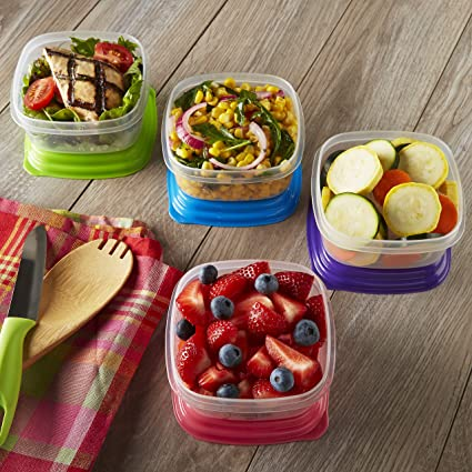 Fit & Fresh Stak Pak Portion Control 1-Cup Container Set, 4 BPA-Free  Reusable Food Storage Containers and Ice Packs, Healthy Lunch and Snack for